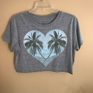 Billabong Heart Palm Tree Gray Cropped Tee